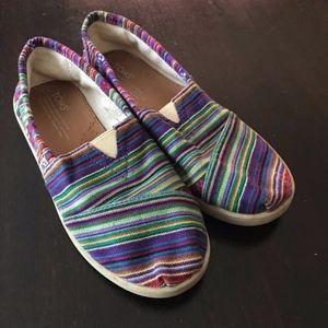 TOMS Classic Striped Rainbow Alpargata Slip Ons